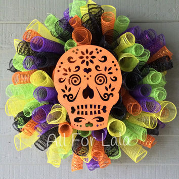 Halloween Mesh Wreath Whimsical Wreath Candy Skull Decor Wreath