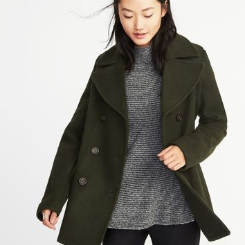 Classic Wool-Blend Peacoat for Women old-navy