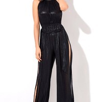 Without Concern Black Sleeveless Spaghetti Strap High Neck Side Slit Wide Leg Loose Jumpsuit - Sold Out