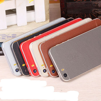 BEST leather Skins Protective Film Back Wrap Skin Cellphone Full Body Protective Film Sticker For iphone 4 4s / 5c / 5 5s SE