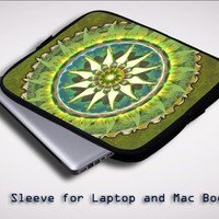 Mandala (green) X0269 Sleeve for Laptop, Macbook Pro, Macbook Air (Twin Sides)