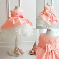 2015 Newest!! Fashion Baby Girls Mesh Splice Sundress Bowknot Flower Girl Ball Gown Tank Dress