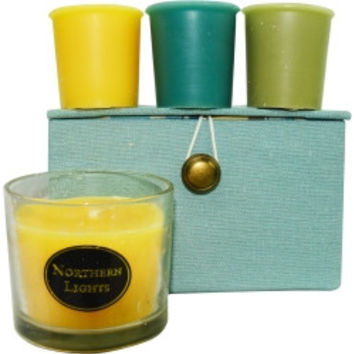 CANDLE GIFT BOX STELLA CANDLE GIFT BOX STELLA BLUE, BROWN AND CREAM STRIPED BOX SET CONTAINS ONE GINGER TEA & HONEY SMALL GLASS VASE & THREE VOTIVES FEATURING LIME BASIL, OCEAN BREEZE AND GINGER TEA & HONEY UNISEX