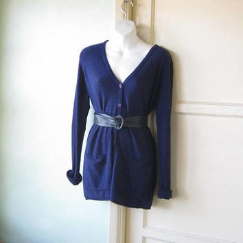 Thin Cobalt Cardigan; Women's Medium Tunic-Length Button Up Blue V-Neck 'Old Man' Sweater; U.S. Shipping Included