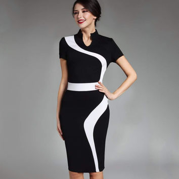 Contrast Fashion Optional Illusion Business Vintage Office Dress Zipper Stand-up Collar Elegant Short Sleeve Slim Fit Dress B320