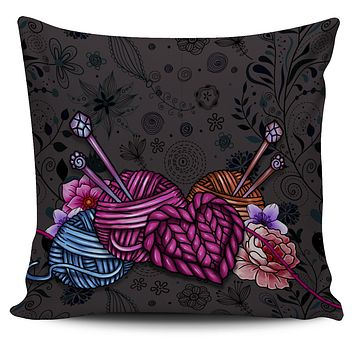 Floral Knitting Pillow Cover