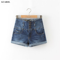 Woman'Brand High Waist Denim Shorts With 4 Button Washed Shorts Jeans Ladies Sexy Hip denim Jeans Plus Size 34-42 Summer Spring