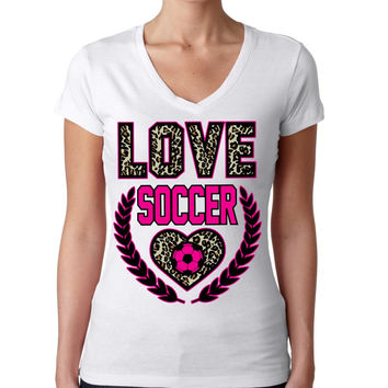 Love Soccer Leopard Womens Sporty V