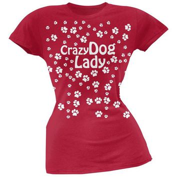 LMFCY8 Crazy Dog Lady Paw Prints Red Soft Juniors T-Shirt
