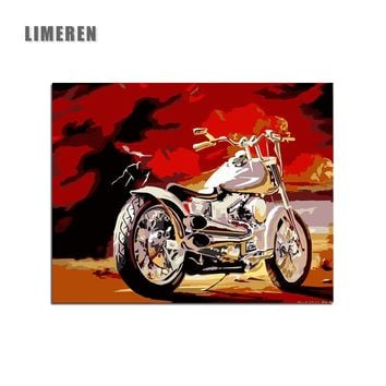 Motor Cycles DIY Drawing By Hand Canvas Coloring Painting By Numbers For Adults Unique Gift Bedroom Wall Art