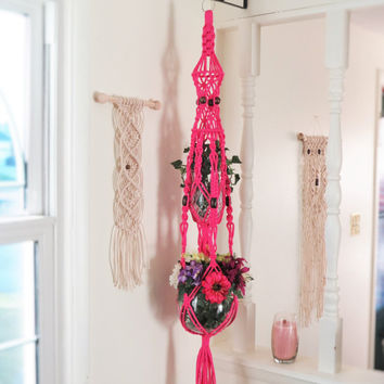 Double Macrame Plant Holder with beads, Tiered Macrame Plant Hanger, Large Double 70s Hanging Planter, Long Hanger With Two Pots AZALEA PINK