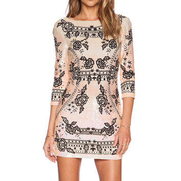 Needle & Thread Embroidery Ombre Sequin Dress in Iridescent & Black