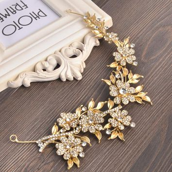 Handmade Gold Bridal Hair Accessories New Flower Leaf Tiara Head Piece Crystal Headband Women Rhinestone Pageant Tiaras & Crowns
