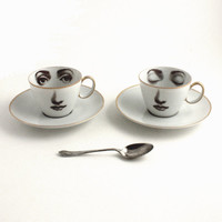 2 Altered Woman Porcelain Eye Espresso Cups Awake Asleep Coffeecups with Saucers Face Vintage White Brown Romantic whimsical