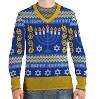 Faux Real Men's Ugly Hanukkah Sweater Large