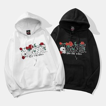 VANS 2018 autumn and winter new rose print plus velvet sports loose hoodie