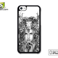 Skull Woman Art Printing iPhone 5c Case Cover by Avallen