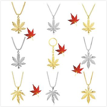 Cannabis Leaf Necklaces and Keychains - Weed Leaves Jewelry