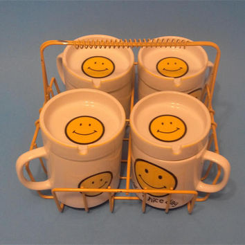 "Smiley Face Mugs & Ashtrays Set of 4 Each and 1 Yellow Wire Holder Rack -JAPAN ""Have A Nice Day"" Latte Coffee Emoticon Mugs Bar-Ware Vintage"