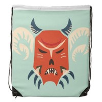Traditional Bulgarian Kuker Mask - Evil Demon Drawstring Bag