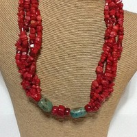 Red coral and turquoise multi strand necklace sterling silver toggle