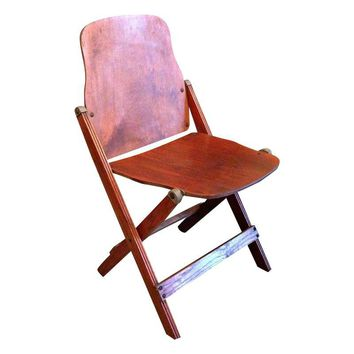 Pre-owned AMSECO WWII Era Wooden Folding Chairs - Set of 4