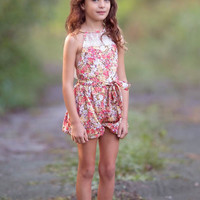 Country Girl Vintage Lace Bubble Romper Brown Floral - Toddler & Girl Sizes!