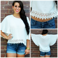 Float Like a Butterfly Off White Crochet Trim Top