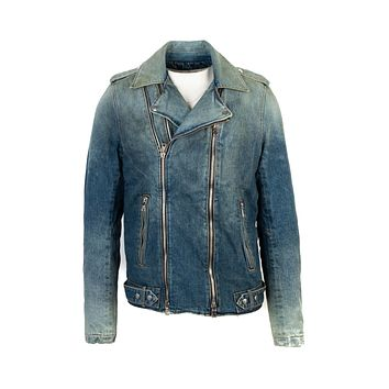 Balmain Mens Blue Denim Biker Jacket