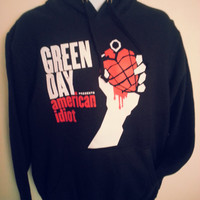 Green Day American Idiot printed Black Hooded Sweat all sizes