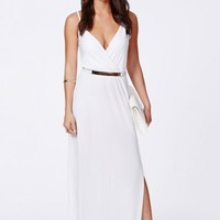 Missguided - Lumie White Strappy Wrap Front Maxi Dress