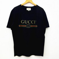 """Gucci"" Fashion Women Men Loose Letters Print Short Sleeve T-shirt Pullover Top I"