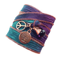 Tree of Life Silk Wrap Bracelet with Peace Sign and Amethyst, yoga jewelry, silk ribbon wrap bracelet, yoga bracelet