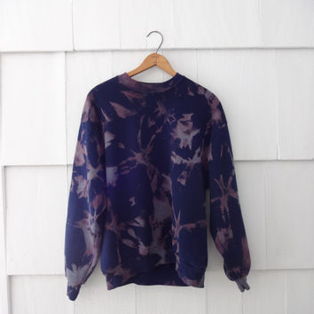 Bleach Tie Dye Crewneck- Navy