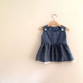 Blue Floral Print Dress | Blue Pinafore | Ditsy Print Dress | Lace Dress | Floral Baby Dress