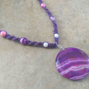 Lovely Purple Agate Hemp Necklace, Naturally Beautiful, Purple Hemp, Gemstones, Gift for Her, Easter, Free Shipping in USA