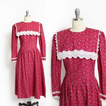 Vintage GUNNE SAX Dress - 1980s Dark Red Cotton Floral 80s - Medium