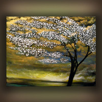 gold white tree painting large textured tree abstract by mattsart