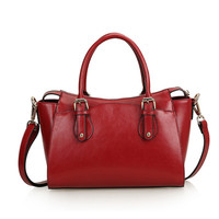 Leather Multi Pocket Tote Shoulder Handbag with Buckle Detail & Detachable Crossbody Strap Large-Wine Red from KissBags