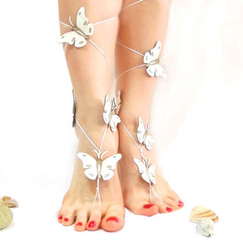 Bridal Jewelry, Barefoot sandal, Wedding Sandals, Butterfly Anklet, White, Summer 2014, Special for brides, Bridesmaid, Genuine Leather Goth