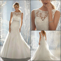 2015 heart-shaped illusion backless evening dresses chiffon bridal gowns beaded lace novia Chapel Wedding Dress Manufacturer A Line Boat Neck Sweep Train Back Cut Out Wedding Dress With Appliques 412421