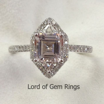 Asscher triangle Morganite Engament Ring Pave Diamond Wedding 14k White Gold 7mm,3mm