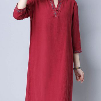Casual Split Neck Embroidery Cotton/Linen Midi Shift Dress