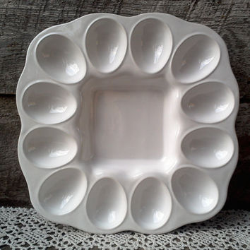 Egg Plate,  Deviled Egg Plate,  Farval Portugal,  Kitchen, Porcelain Egg Plate, Easter