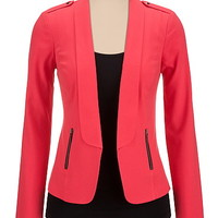 teaberry open front blazer with studs