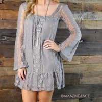SZ LARGE Laced With Style Taupe Lace Dress