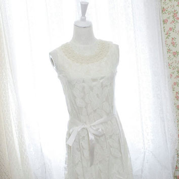 Pearl collar white lace dress dreamy romantic elegance women cocktail dress