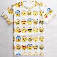 Emoji Printed Round Neck Short Sleeve T-Shirt