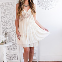 Josephine Crochet Dress (Beige)