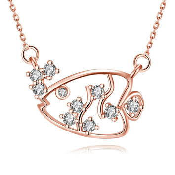 Rose Gold Plated Swimming Salmon Necklace
